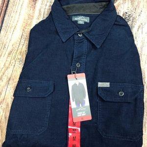 Eddie Bauer Cross Cut Cord Shirt Blue Mens M